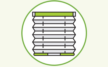 Pleated blinds are shades made from a pleated fabric that pull up to sit flat at the top of a window to hide from sight when open.